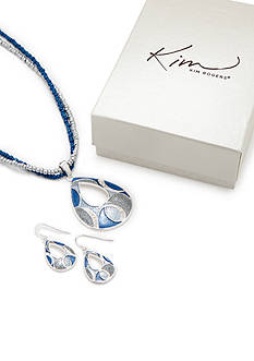 Kim Rogers® Tonal Blue Open Teardrop Necklace and Earring Set