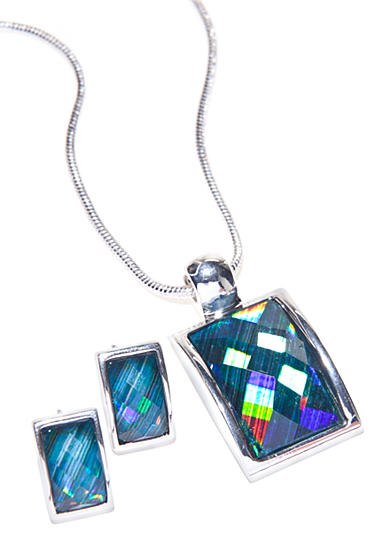 Kim Rogers® Turquoise Rectangle Necklace and Earring Set
