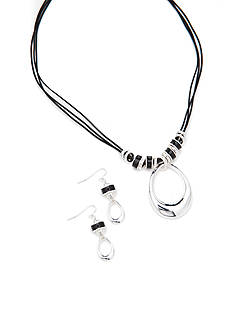 Kim Rogers Silver-Tone Open Metal Teardrop Pendant Necklace and Earring Boxed Set