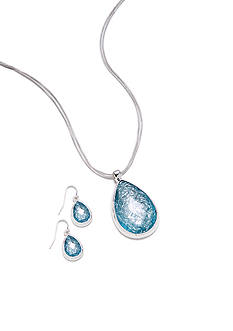 Kim Rogers® Foil Turquoise Teardrop Necklace and Earrings Set
