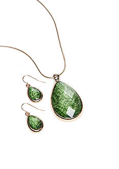 Kim Rogers Green Foil Pendant Necklace And Earring Set