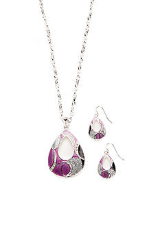 Kim Rogers Silver-Tone Purple Open Teardrop Pendant Necklace and Earrings Boxed Set