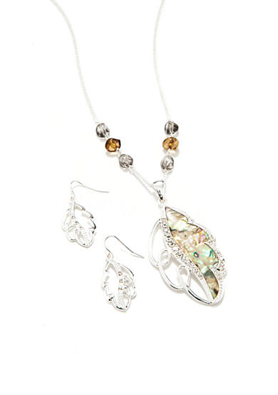 Kim Rogers® Silver-Tone Leaf Pendant Necklace and Earring Boxed Set