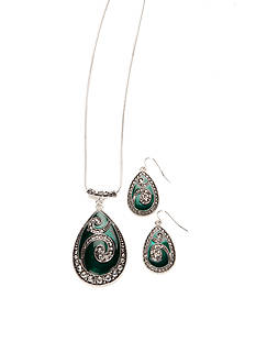 Kim Rogers Silver-Tone Green Pendant and Earrings Set