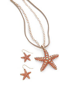 Kim Rogers® Gold-Tone Coral Starfish Necklace and Earrings Boxed Set