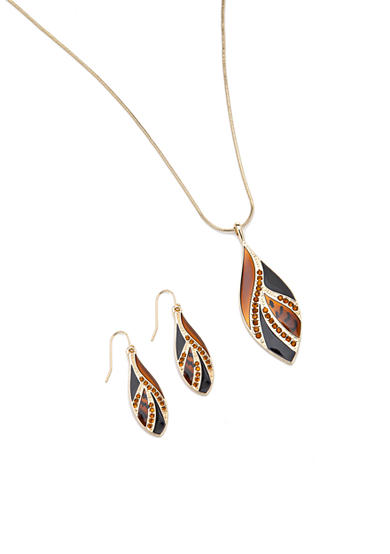 Kim Rogers® Animal Print Leaf Pendant Necklace and Earring Boxed Set