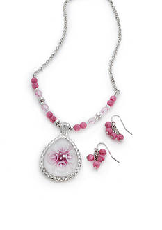 Kim Rogers® Silver-Tone Pink Floral Pendant Necklace and Earrings Boxed Set