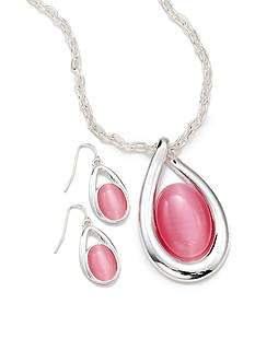 Kim Rogers® Kim Rogers Pink Teardrop Pendant Necklace and Earring Boxed Set.