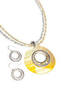 Kim Rogers® Silver-Tone Yellow Round Pendant Necklace and Earrings Boxed Set