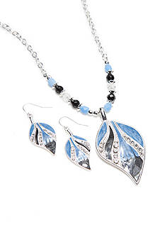 Kim Rogers Silver-Tone Navy Leaf Pendant and Earring Boxed Set