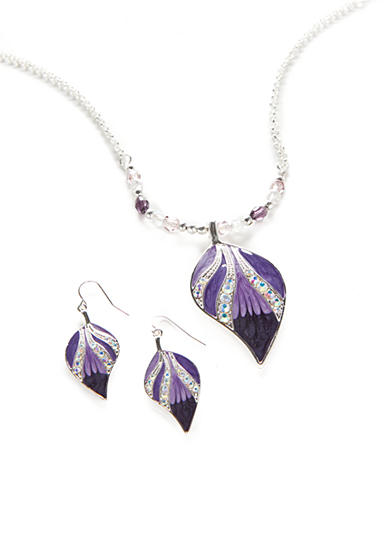 Kim Rogers® Silver-Tone Purple Leaf Pendant Necklace and Earrings Boxed Set