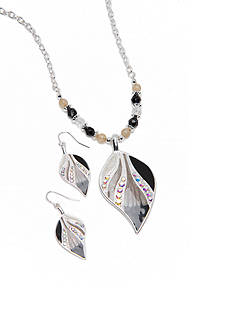 Kim Rogers Silver-Tone Ombre Jet Leaf Pendant Necklace and Earring Boxed Set