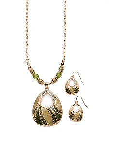 Kim Rogers Gold-Tone Green Pendant Necklace and Earrings Set