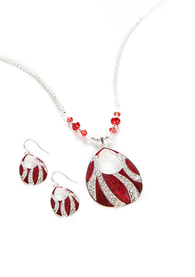 Kim Rogers® Silver-Tone Red Open Teardrop Pendant Necklace and Earrings Boxed Set
