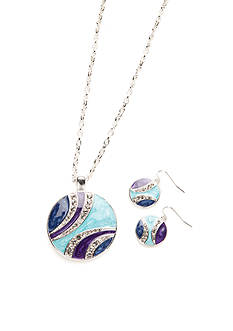 Kim Rogers Silver-Tone Round Blue Pendant Necklace and Earrings Set