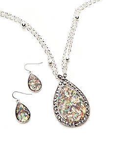 Kim Rogers Natural Abalone Teardrop Necklace and Earrings Set