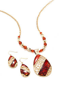 Kim Rogers Gold-Tone Red Teardrop Necklace and Earring Boxed Set