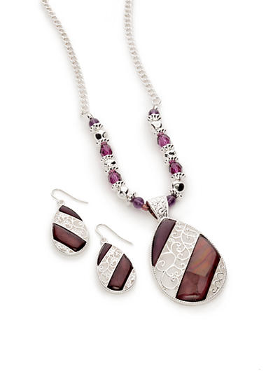 Kim Rogers® Silver-Tone Purple Teardrop and Earrings Boxed Set