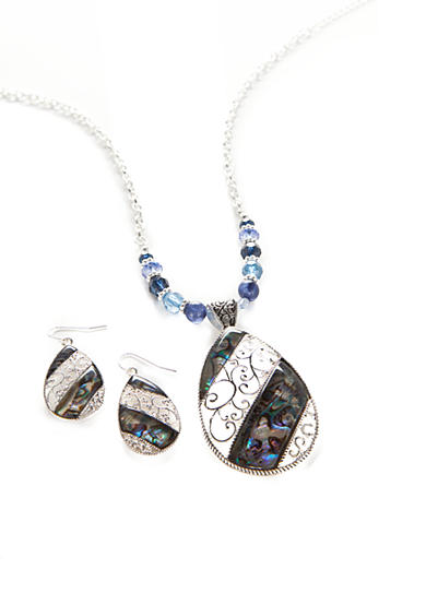 Kim Rogers® Silver-Tone Blue Teardrop Pendant Necklace and Earrings Boxed Set