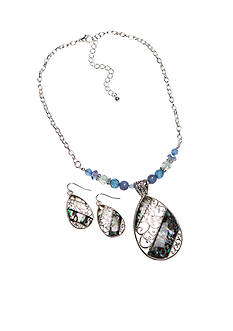 Kim Rogers Silver-Tone Abalone Blue Pendant Necklace and Earrings Boxed Set