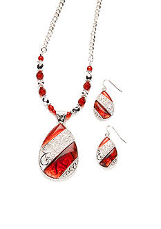Kim Rogers Silver-Toned Red Drop Pendant Neckalce and Earrings Boxed Set