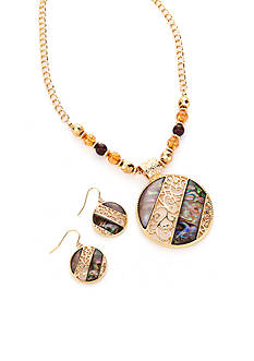 Kim Rogers Gold-Tone Abalone Pendant and Earrings Boxed Set