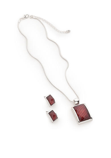 Kim Rogers® Silver-Tone Red Pendant Necklace and Earrings Boxed Set