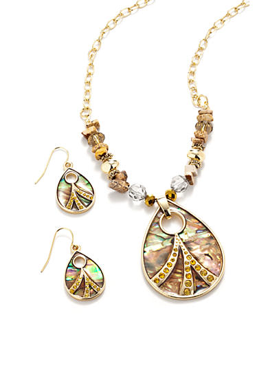 Kim Rogers® Natural Teardrop Abalone Necklace and Earring Set