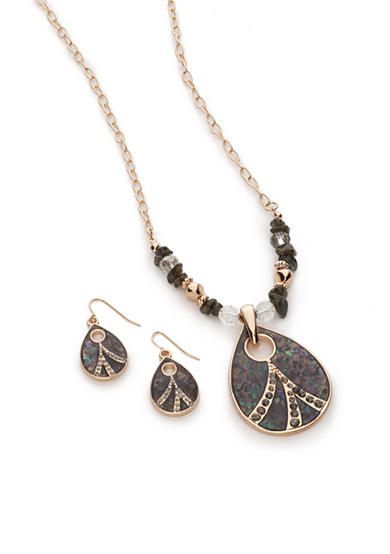 Kim Rogers® Gold-Tone Gray Teardrop Necklace and Earrings Boxed Set