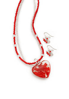 Kim Rogers® Silver-Tone Red Flower Heart Pendant Necklace and Earring Set
