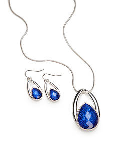 Kim Rogers Silver-Tone Blue Teardrop Pendant and Earrings Boxed Set