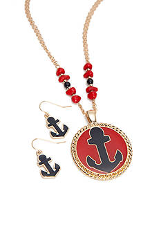 Kim Rogers® Gold-Tone Anchor Pendant Necklace and Earrings Boxed Set