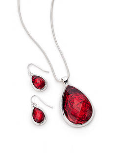 Kim Rogers Silver-Tone Red Teardrop Necklace and Earring Boxed Set