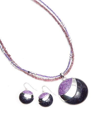 Kim Rogers® Silver-Tone Purple Pendant Necklace and Earring Boxed Set