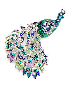 Kim Rogers® Silver-Tone Peacock Boxed Pin