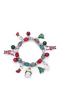 Kim Rogers Silver-Tone Holiday Motif Charm Stretch Bracelet