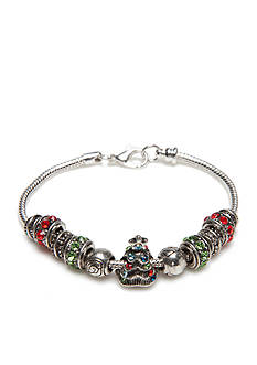 Kim Rogers® Silver-Tone Holiday Charm Red and Green Bead Bracelet