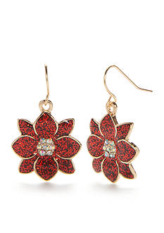 Kim Rogers® Gold-Tone Red Glitter Poinsettia Drop Earrings