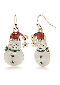 Kim Rogers Gold-Tone Snowman Drop Earrings