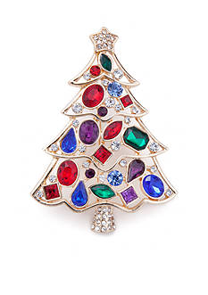 Kim Rogers Gold-Tone Gemstone Christmas Tree Pin