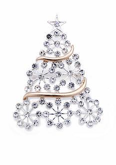 Kim Rogers Two-Tone Snowflake Crystal Christmas Tree Pin