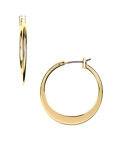 Napier High Polished Gold-Tone Hoop Earring