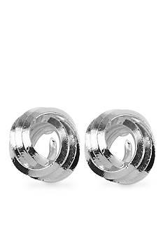 Napier Silver-Tone Knot Button Pierced Earring