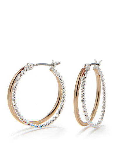 Napier Gold-Tone and Silver-Tone Twisted Hoop Earrings