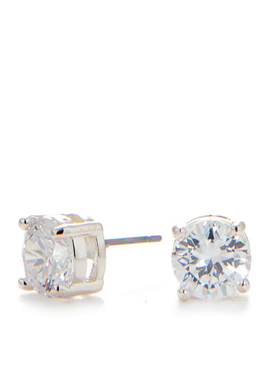 Napier Silver-Tone and Crystal Stud Earrings