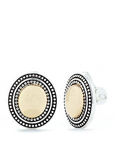 Napier Oval Button Clip Earrings