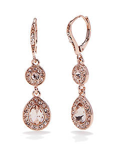 Napier Rose Gold-Tone Leverback Drop Earrings