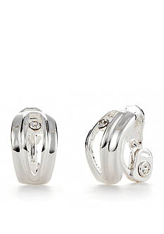 Napier Silver-Tone C Hoop Clip Earrings