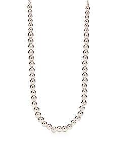 Napier Silver-Tone Beaded Collar Necklace