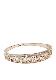 Napier Gold-Tone Filigree Hinge Bangle Boxed Bracelet